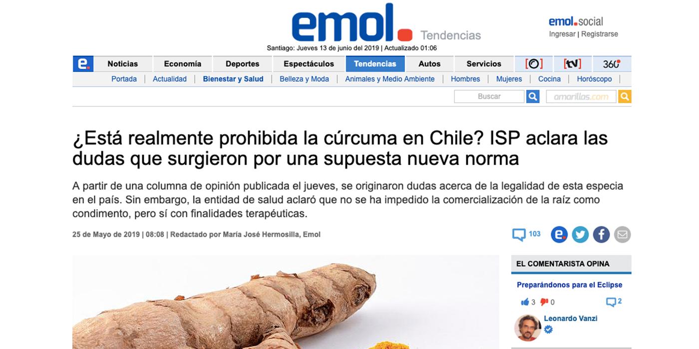 Esta prohibida la curcuma en Chile